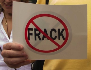 Detail of a sign at a fracking protest in New York City
