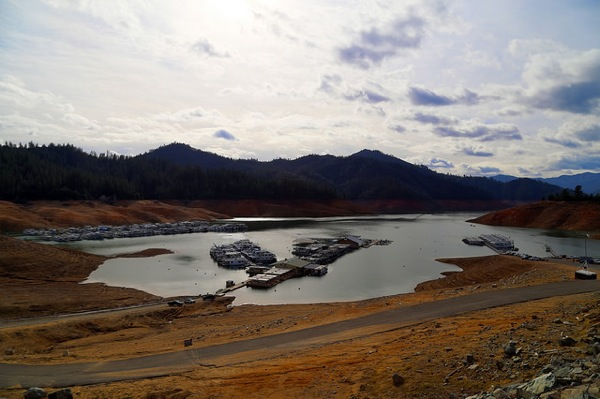 The drought has left Lake Shasta, shown here in February 2014, with much less water than usual.