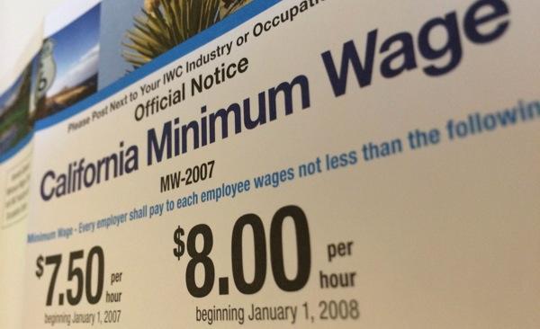 A California minimum wage sign. | Photo: Zach Behrens/KCET