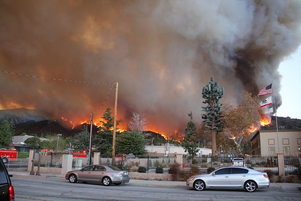 The Colby Fire burning above the city of Glendora in January 2014.