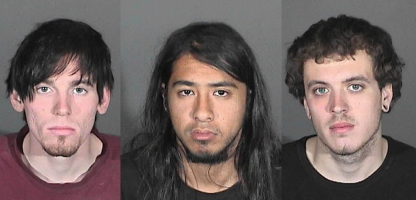 Suspects Jonathan Jarrell, Steven Aguirre, and Clifford Henry Jr. | Photos: Courtesy Glendora Police Department.