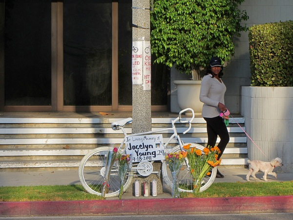 A memorial ghost bike in Pasadena left for hit-and-run victim Jocelyn Young, who was killed while riding her bike in 2011.