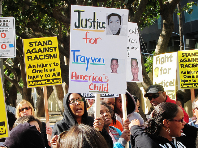 At a Million Hoodies March in 2012 at L.A.'s Pershing Square.