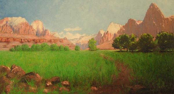 1903 painting of Zion National Park by Frederick S. Dellenbaugh. | Image: Public domain, U.S.