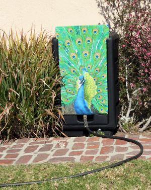 An example of  Kimberly Colbert's decorative 62-gallon Rain Goddess rainwater capture system.