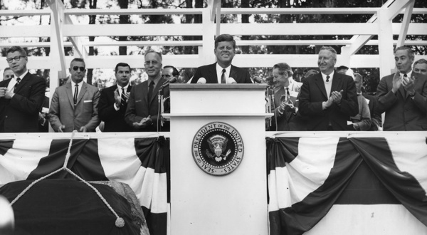 President John F. Kennedy speaking at dedication of Pinchot Institute, Milford PA, September 1963. | Photo: Courtesy U.S. Forest Service, Grey Towers National Historic Site