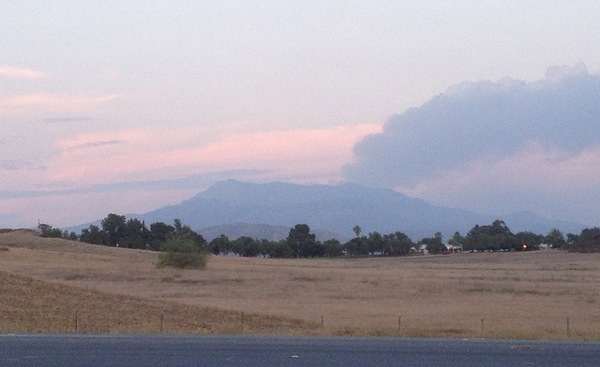 Smoke from the Mountain Fire in the San Jacinto Mountains.