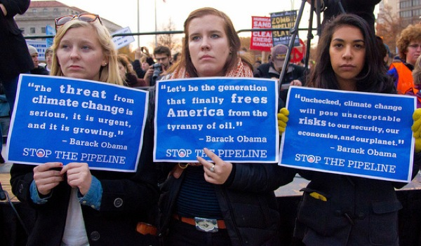 Protestors at a No on Keystone pipeline event in November 2012.