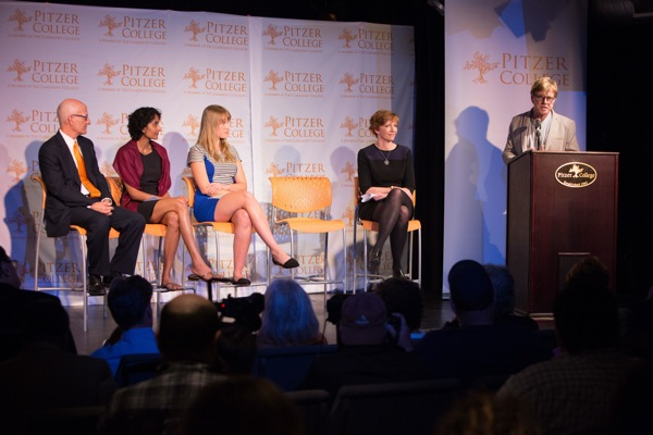 From Left, Trustee Donald Gould, Professor Brinda Sarathy, student activist Jess Grady-Benson, President Laura Skandera Trombley, and Robert Redford at the LA Press Club | Photo: Courtesy Pitzer College