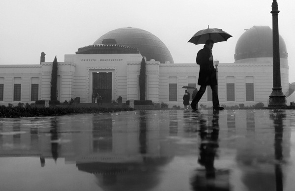 A rainy March 1, 2014 at Griffith Observatory in Los Angeles, CA.