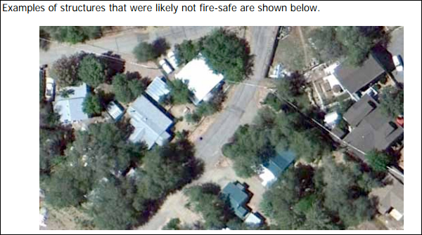 30 percent of the structures  identified as not fire-safe that burned in the Yarnell Hill Fire. | Screenshot: Courtesy Pacific Biodiversity Institute