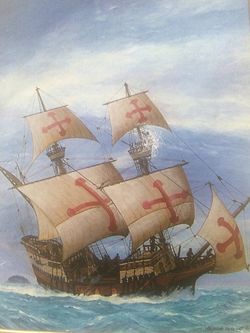 A painting of the San Salvador. | Image: Courtesy National Park Service