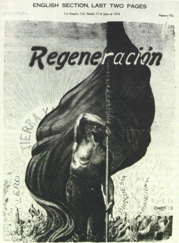 Tierra y Libertad cover of Ricardo Flores Magón's newspaper Regeneracion from 1914.