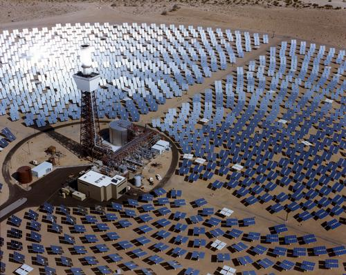 Stretched membrane heliostats with silvered polymer reflectors will be used as demonstration units at the Solar Two central receiver in Daggett, CA. (Sandia National Laboratory)