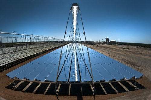 One example of a concentrating solar power technology is AREVA Solar's Compact Linear Fresnel Reflector technology at the company's Kimberlina Solar Thermal Power Plant in Bakersfield, California. (AREVA Solar)