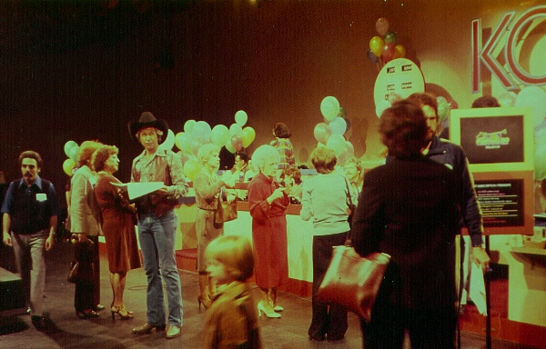 The late Dottie Kemps, center in red, at a KCET pledge drive in March 1980. | Photo: Cathy Bower