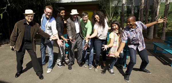 'Stand Up Planet' cast, left to right: Norman Lear, James Adomian, Hassan Minhaj, Carl Reiner, Nate Bargatze, Michelle Buteau, Aditi Mittal and Mpho Popps