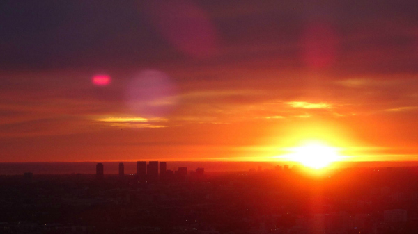 Wednesday evening's sunset from Griffith Observatory. | Photo: Zach Behrens/KCET