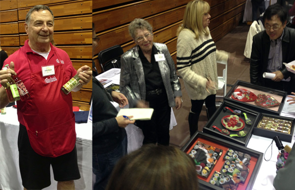 Galco's owner John Nese (left); ''Lint Lady'' Slater Barron with her art work (at left in right photo)