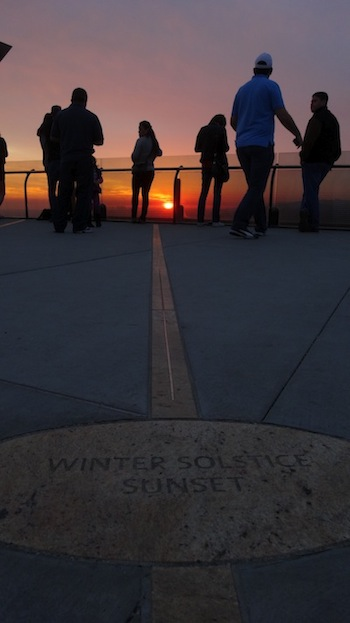 The line that points to winter solstice sunset. | Photo: Zach Behrens/KCET