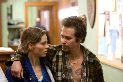 Hillary Swank and Sam Rockwell in <em>Conviction</em>