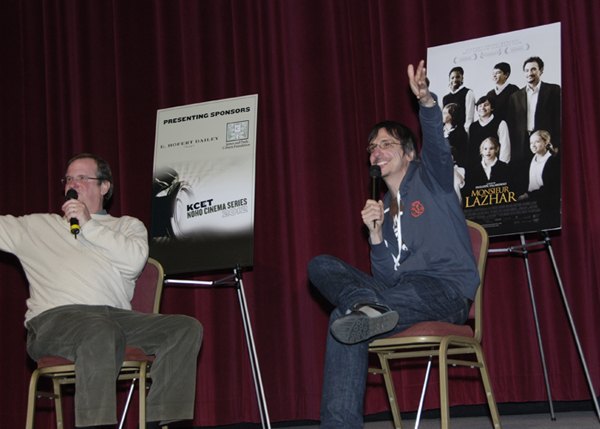 Host Pete Hammond with writer/director Phillipe Falardeau during the KCET CInema Series Q&A.