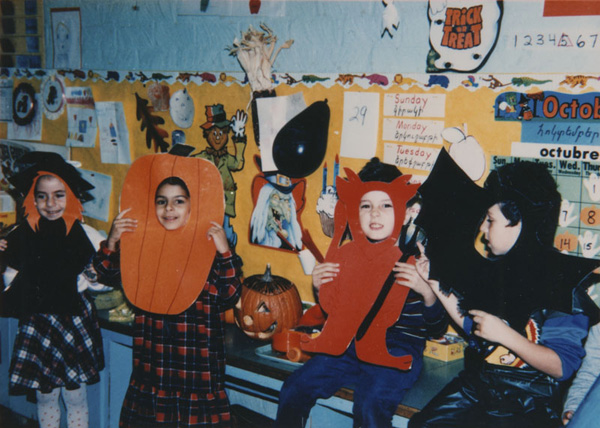 Armenian American children wearing Halloween costumes in classroom at Horace Mann Elementary School, 1986. | Image courtesy of LAPL.