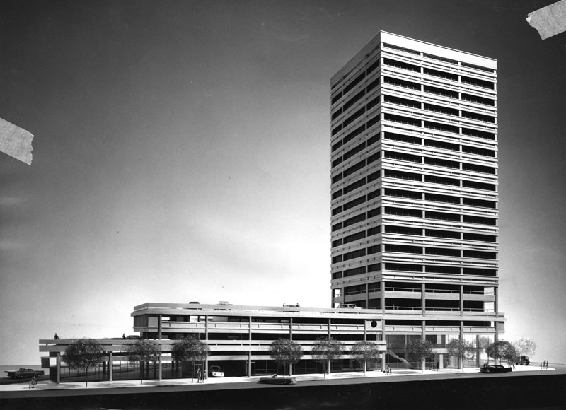 The Sumitomo Bank building plan by Kajima International, Inc. Courtesy of the Los Angeles Public Library