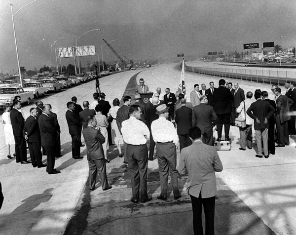 A segment of the Santa Monica Freeway near downtown L.A. opens on August 16, 1962. Courtesy of the Herald-Examiner Collection, Los Angeles Public Library.