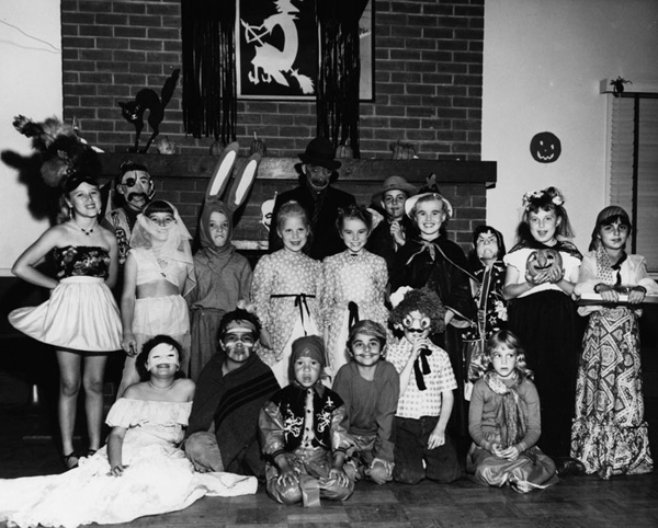 Children in costume pose at a Halloween party at Avalon Gardens on October 31, 1950. | Image: courtesy of LAPL.