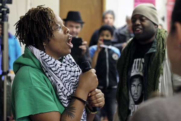 Patrisse Cullors speaking in Tottenham, North London as part of the Ferguson Solidarity Tour. Photo by: Steve Eason