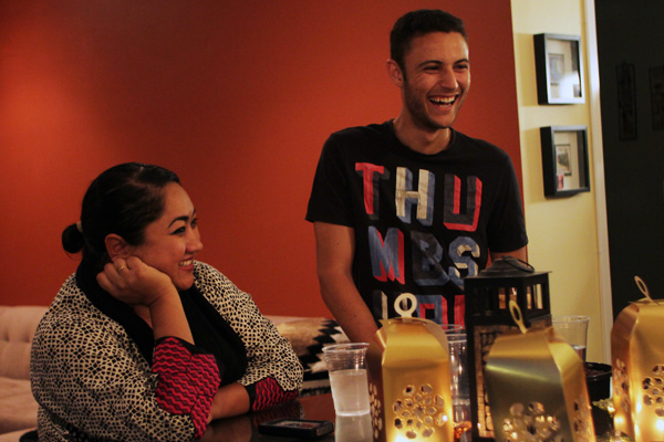 Queer ally Marium Mohiuddin (left) and Shereef Abdou (right) share a laugh I Photo: Jonathan Olivares