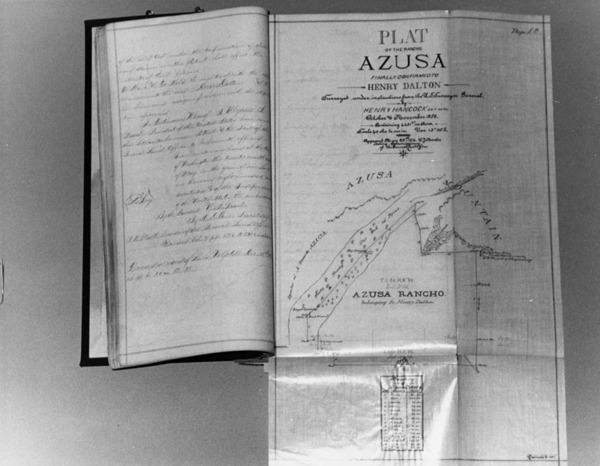 Henry Hancock's survey of Dalton's Rancho Azusa | Security Pacific National Bank Collection, Courtesy of the Los Angeles Public Library