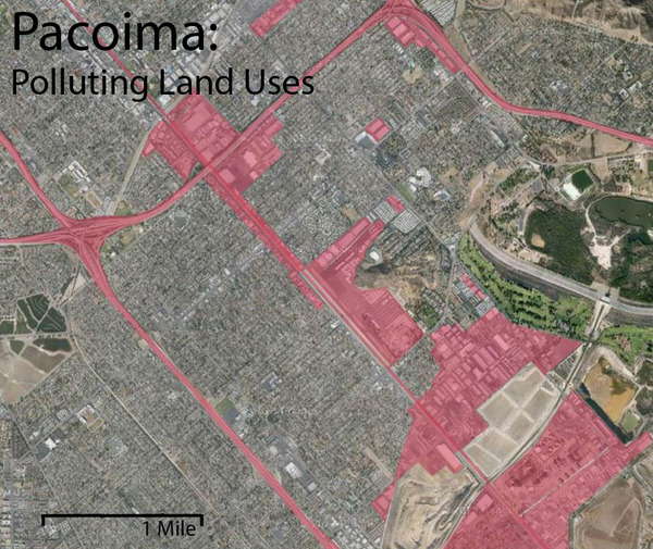 The red areas highlight polluting land uses in Pacoima. These include factories, transportation infrastructure, a power plant, and an airport.