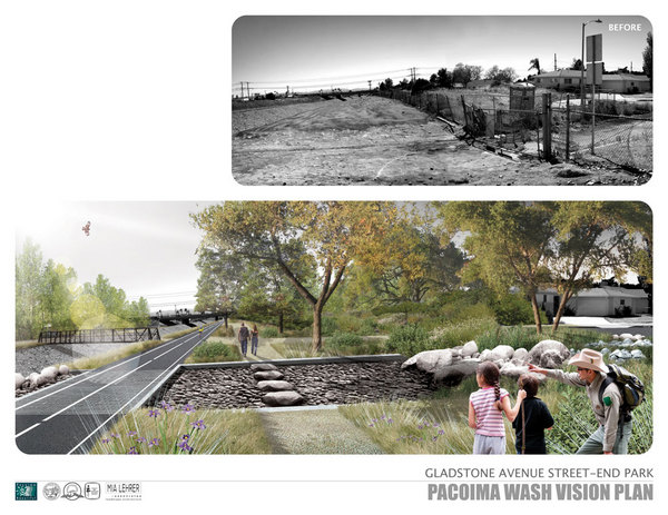 A rendering taken from the vision plan showing a revitalized Pacoima Wash. Not only will the Wash provide green space and enhance mobility but it will provide opportunities for storm water capture which will remove pollutants and reduce flooding.