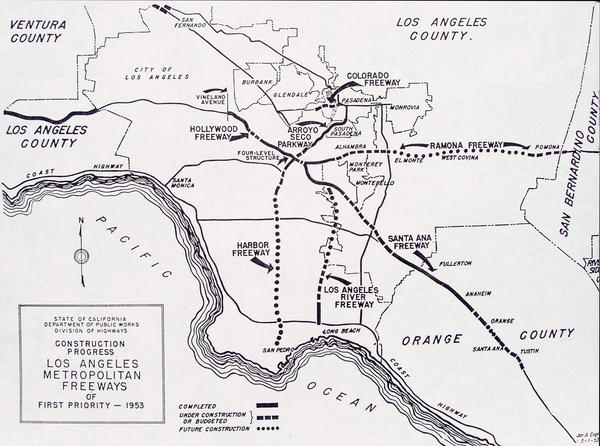 A 1953 Division of Highways map shows the I-710 Long Beach Freeway was one of the earliest freeways in Southern California. Unfinished and only 22 miles in length, the freeway has become a vital corridor in the nation's movement of goods.