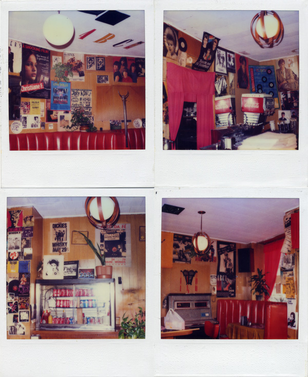 Polaroids of inside the Atomic Cafe, filled with band posters and art. The famous jukebox is seen in the bottom right