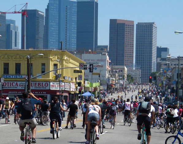 Wilshire Boulevard in L.A.'s Westlake neighborhood is taken over by cyclists during CicLAvia in April 2011