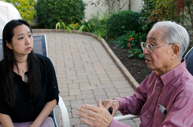 Writer Victoria Moy (left), converses with World War II veteran Dr. Wing Mar (right). His accounts of his military service are documented in Moy's new book on Chinese American veterans. | Photo: Elson Trinidad