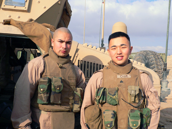 PFC Michael Chan (right), in this 2006 picture, served two tours of duty for the U.S. Marine Corps in Fallujah, Iraq. | Photo Courtesy: Michael Chan
