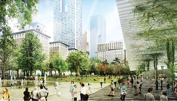Agence TER with Landscape Architects imagine Pershing Square as a green space.
