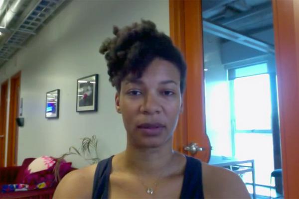 Video still of Ashaki Jackson reading her poem 'Passing Pahmona' from a post on #BlackPoetsSpeakOut tumblr