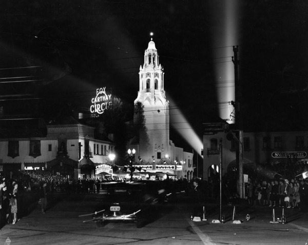 Though generally unremarkable, San Vicente is dotted with signs of L.A.'s quintessential good life.The Carthay Circle Theater in the 1940. Photo Courtesy of the Los Angeles Public Library