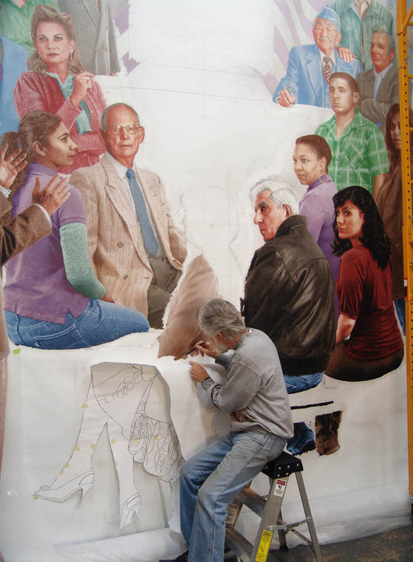 Kent Twitchell painting 'We the People, Out of Many, One' panel with image of Joe Gatto.