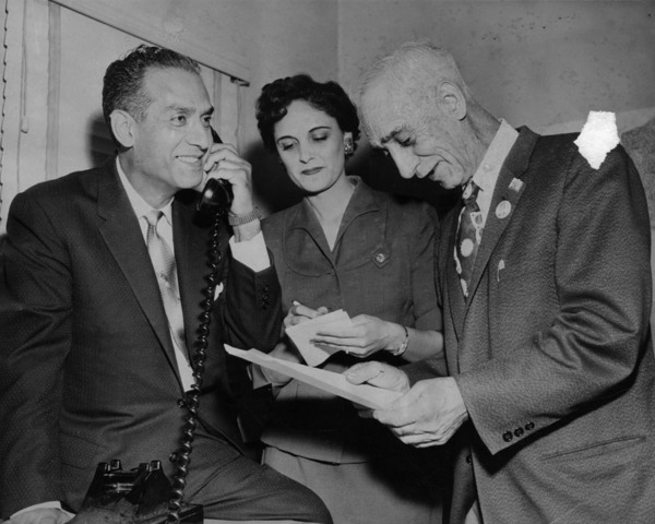 Councilman Edward Roybal (on telephone) with Mrs. Roybal and father, Baudilio Roybal. November 8, 1958 | Courtesy LAPL Digital Collections