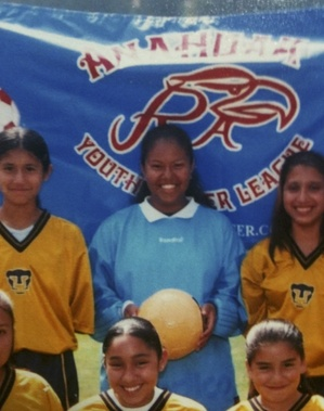 Dayana as goalie, Anahuak Youth Sports Association, age 14