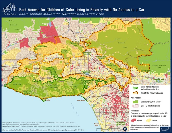 ''Los Angeles County is one of the most disadvantaged counties in terms of access to parks and open space for children and people of color,''according to the National Park Service. Click to enlarge