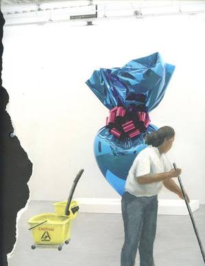 Carmelina cleaning in the Jeff Koons exhibition