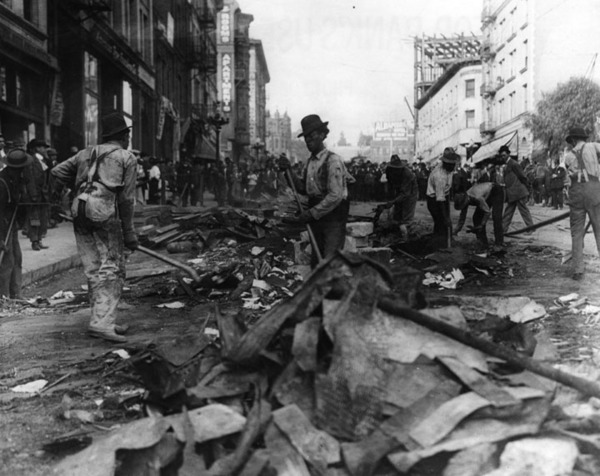 Work crew cleaning up rubble after the bombing | Security Pacific National Bank Collection, Los Angeles Times