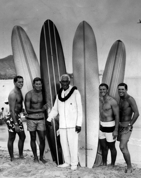 Duke Kahanamoku at Huntington Beach, 1965 | Herald-Examiner Collection, Los Angeles Public Library